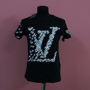Louis Vuitton Planes LV Logo Print Black T-Shirt